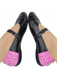 Sugar Splash Dragon - Womens black and pink smooth leather-textured and python studded mary jane flats shoes $109.00 #shoeenvy #shoes #fashion #instalove #pretty #ethical #glamorous