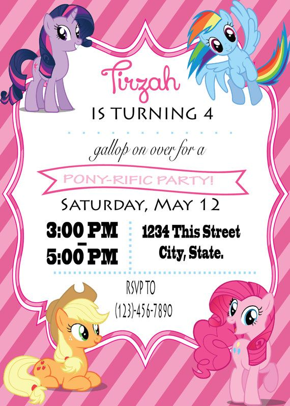 17 Best images about Party My Little Pony – My Little Pony Birthday Invites