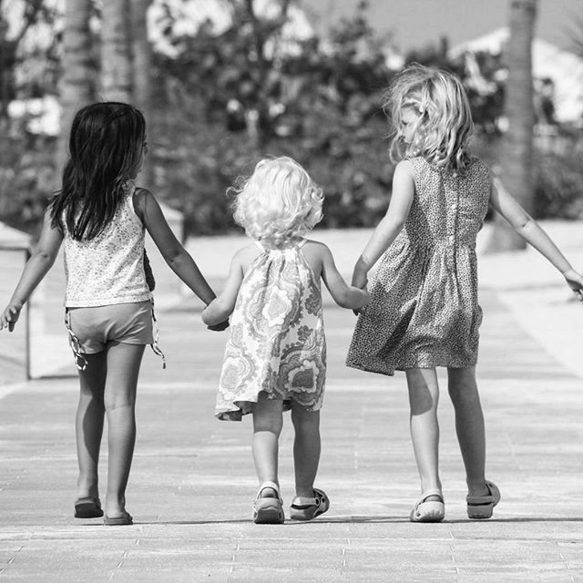 Forever friends walking together hand in hand..