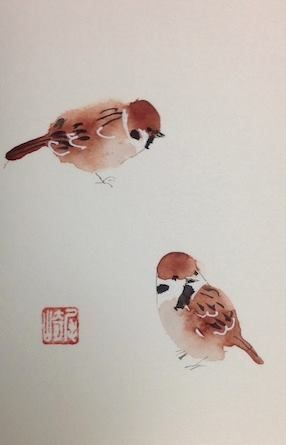 """I call pairs of anything """"Twosies"""" this Sparrow duo by Shozo Ozaki"""