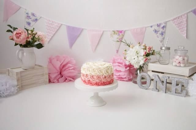 Delicious Setup for a Pink & Purple Cake Smash Photography Shoot. Our bunting is from just $6.00 a metre.  Photo Credit: Button Love Photography, New Zealand