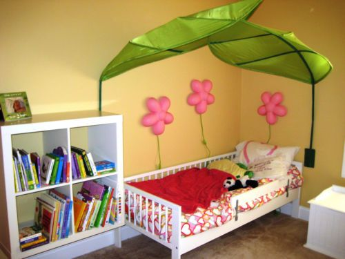 Details about ikea lova bed canopy green giant leaf new - Toddler bed decorating ideas ...