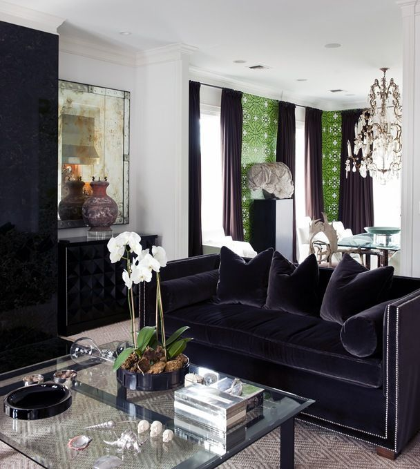 Love Everything About This Room In 2020 Velvet Couch Living Room Home Living Room Interior