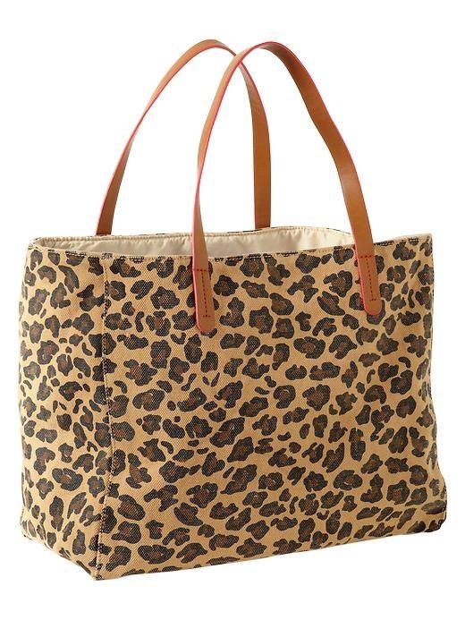 leopard canvas print tote