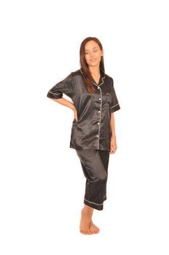 Sleeved Womens Black Satin Pajamas