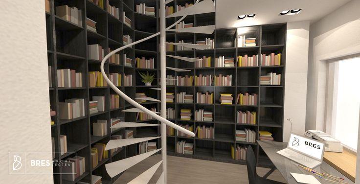 bureauruimte met grote bibliotheekkast