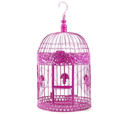 Bird cage decor for girl's room.