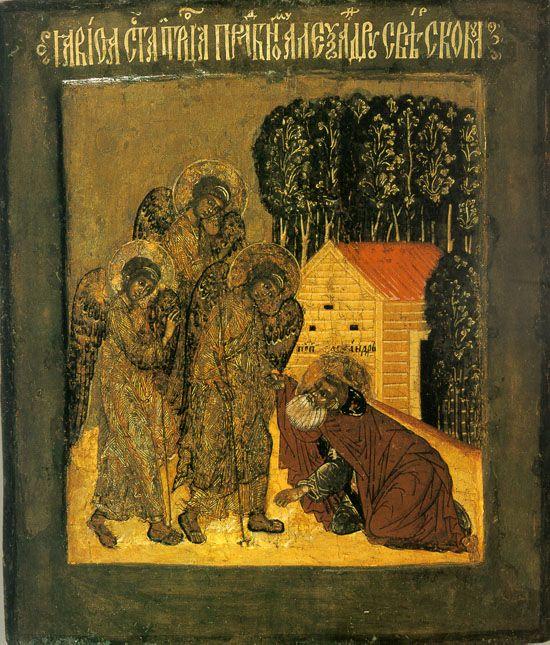 The phenomenon of the Holy Trinity St. Alexander Svirsky. Saint Alexander was the second man, who was Holy Trinity (the first person was the Patriarch Abraham).