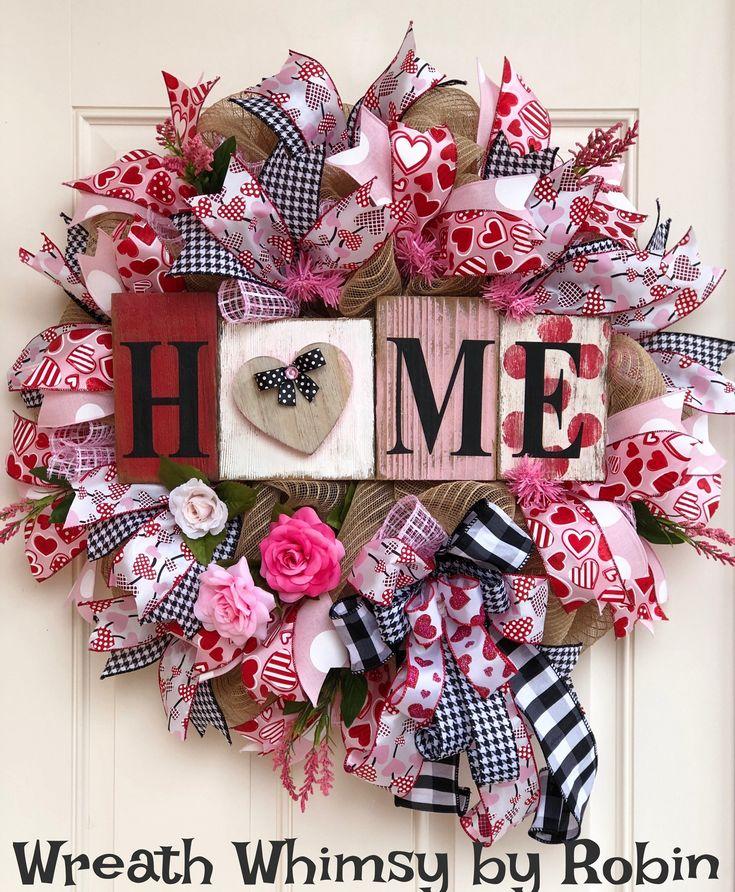 Burlap Mesh Valentine Wreath in Pink Red