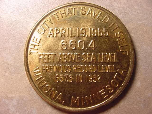 Winona coin commemorating the 1965 flooding.
