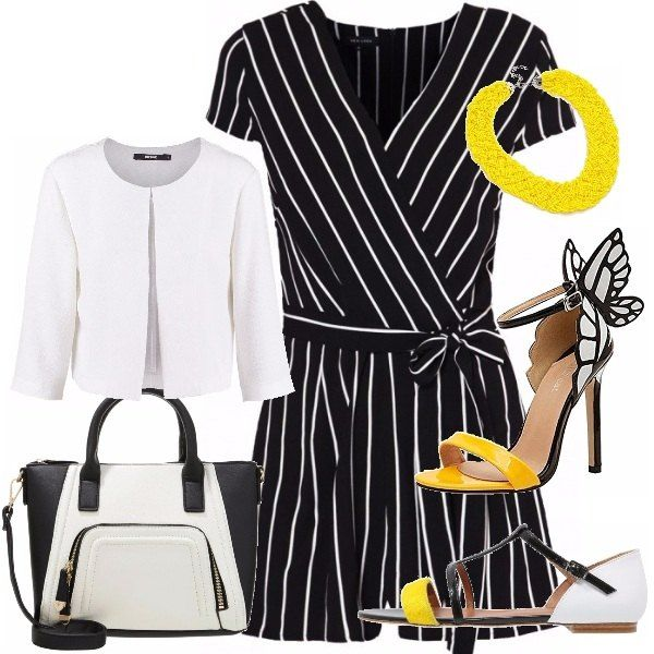 Jumpsuit versatile abbinata con sandalo basso o all'occorrenza con un tacco alto sui toni del giallo, accompagnata da un blazer leggero bianco e da comoda borsa bianconera. La collana gialla dà un tocco di luminosità all'outfit.