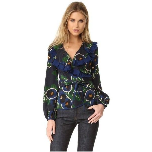 Tory Burch Jacinta Wrap Top (8,750 MXN) ❤ liked on Polyvore featuring tops, blouses, navy avalon, ruffle blouse, ruffle sleeve blouse, ruffle top, navy blue blouse and navy blouse