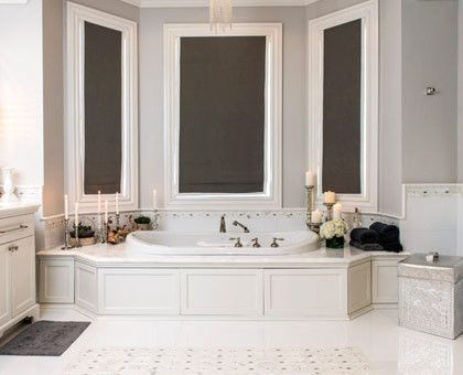 The Dark Gray Shades And Metallic Details In This Romantic Master Bathroom  Offer Instant Visual Appeal