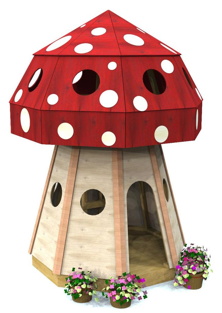 Outdoor toadstool playhouse plan.  Download the plans today and have a cute and whimsical family project for the weekend!