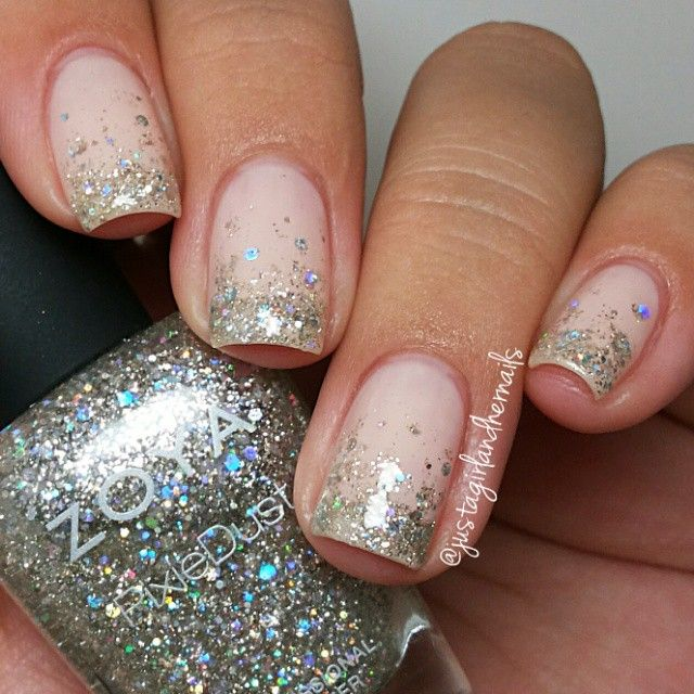 I used OPI Bubble Bath & Zoya Cosmo - so sparkly!  #weddingmani