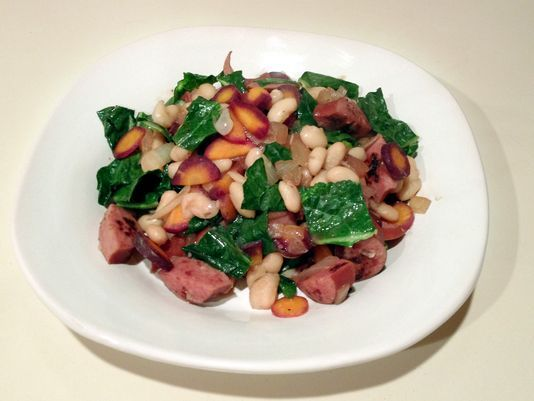 Recipe: Turkey Sausage With White Beans and Kale