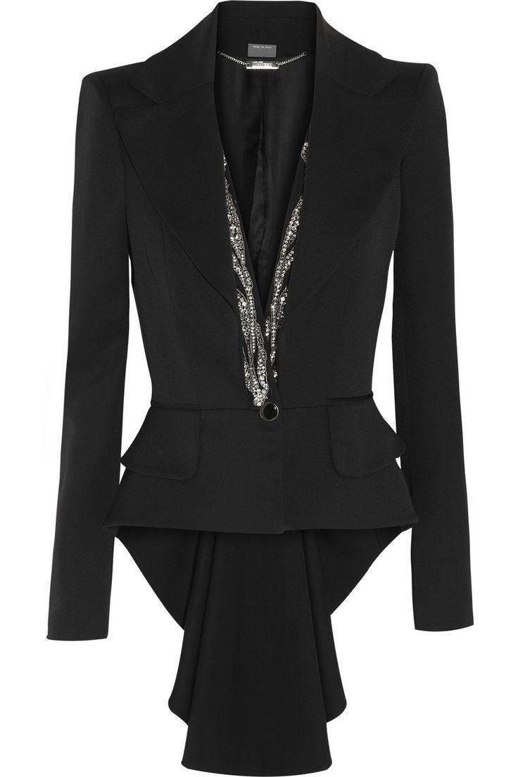 Alexander McQueen|Crystal-embellished wool tailcoat|NET-A-PORTER.COM