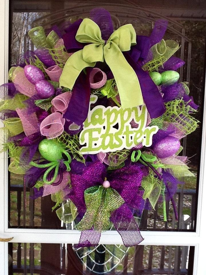 Spiral Mesh Easter Wreath. $115.00, via Etsy.