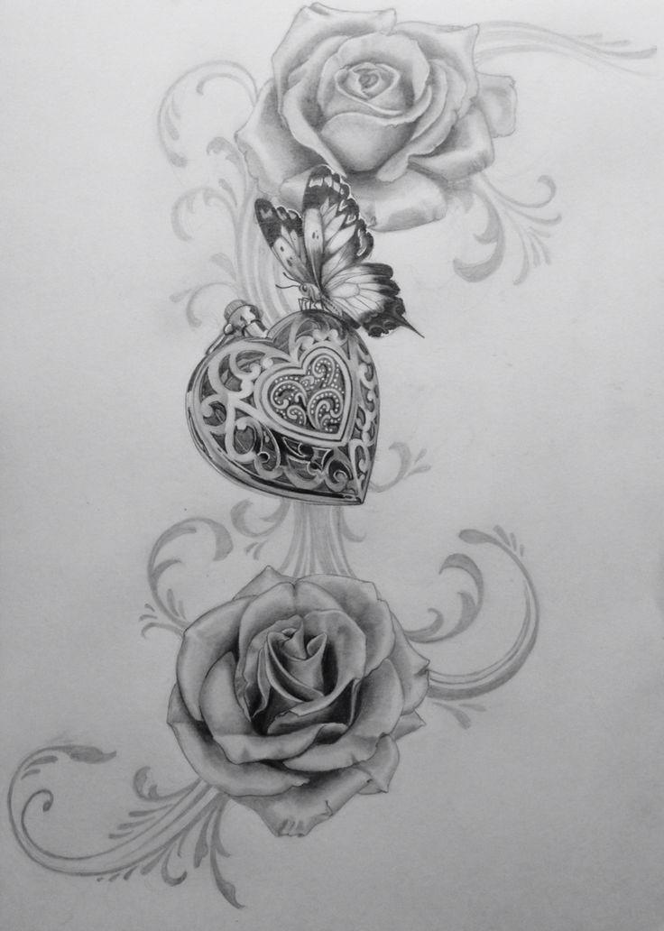 Amulett zeichnen Rosen Rosen Schmetterling