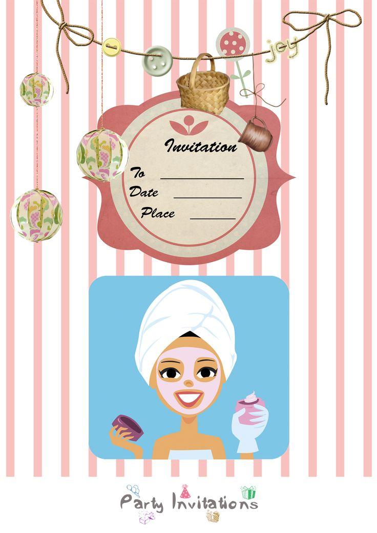 wonderful spa party invitations