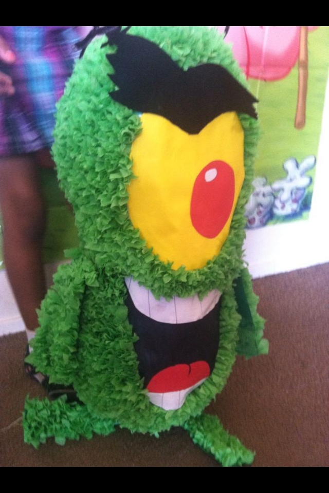 Plankton Piñata... I made this for my daughters 2nd Birthday Spongebob theme party