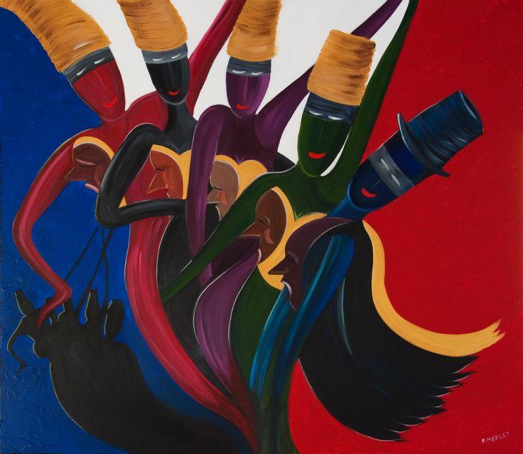 DARK SHADOW DANCING BLUE Acrylic on Italian canvas. SOLD.