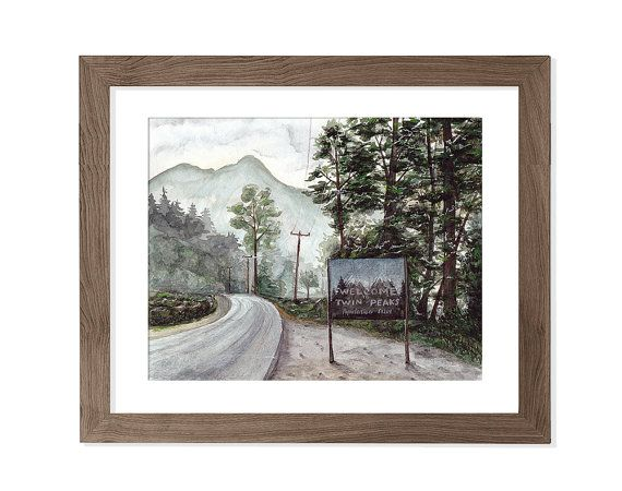Twin Peaks  Print from Watercolor artwork by songhillpics on Etsy
