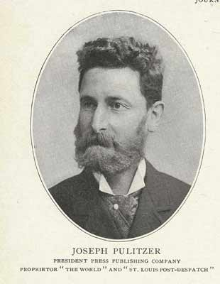 """Joseph Pulitzer (1847-1911), born Politzer József, was a Hungarian-American newspaper publisher of the St. Louis Post Dispatch and the New York World. Pulitzer introduced the techniques of """"new journalism"""" to the newspapers he acquired in the 1880s and became a leading national figure in the Democratic party. He crusaded against big business and corruption. In the 1890s the fierce competition between his World and William Randolph Hearst's New York Journal introduced yellow journalism and…"""