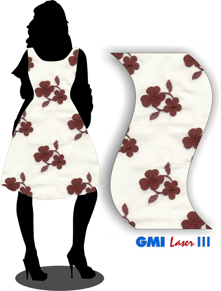 Woman dress simulation with lasercut and embroidery fabric.