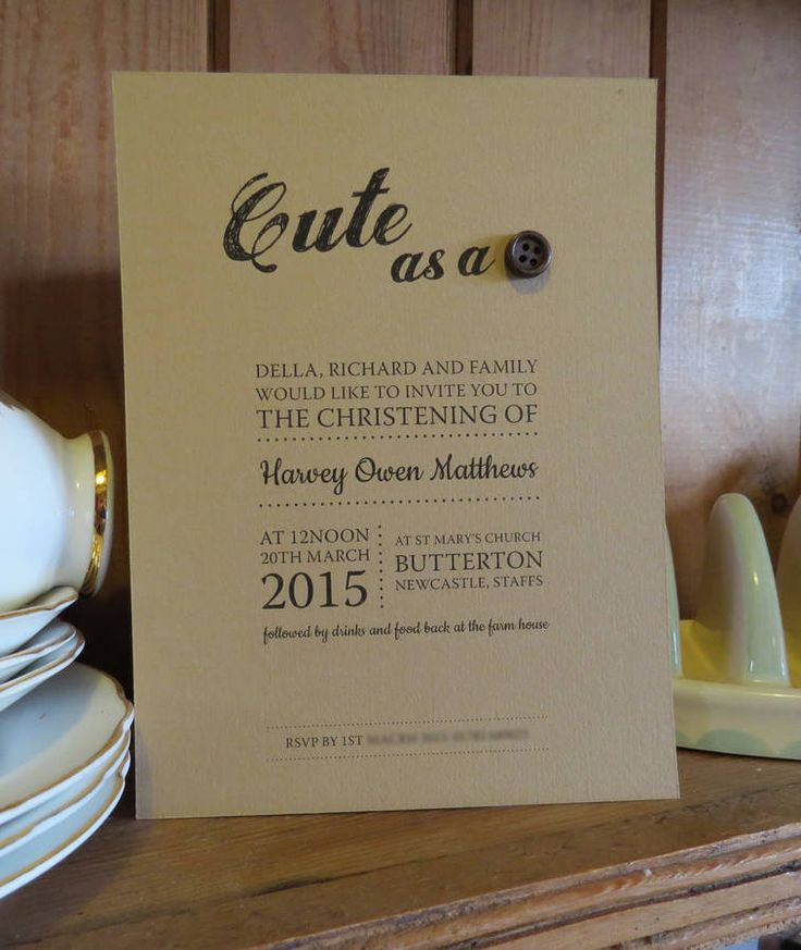 Cute As A Button Christening Invitations
