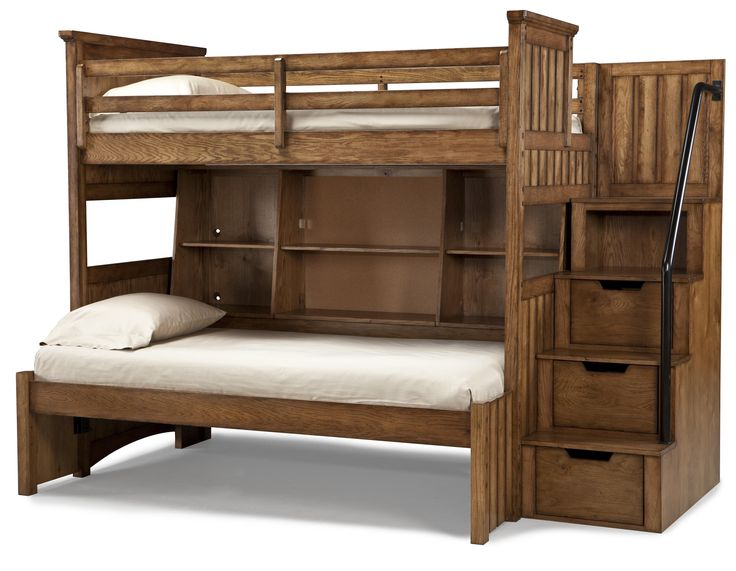 Steps For High Beds Part - 23: Bed, Elegant Timber Lodge Twin Over Bookcase Full Bunk Bed With Storage  Stairs And Cork Message Board Also White Bed Linen And Pillowcase:  Astonishing Twin ...