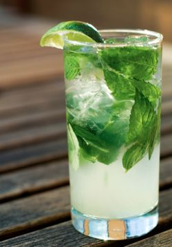 Cuban Mojito : 1 1/3 oz. Rum, light carbonated water, 1 oz. Lime Juice, 2 wedges Lime, Mint leaves, 1 1/2 oz. Sugar Syrup