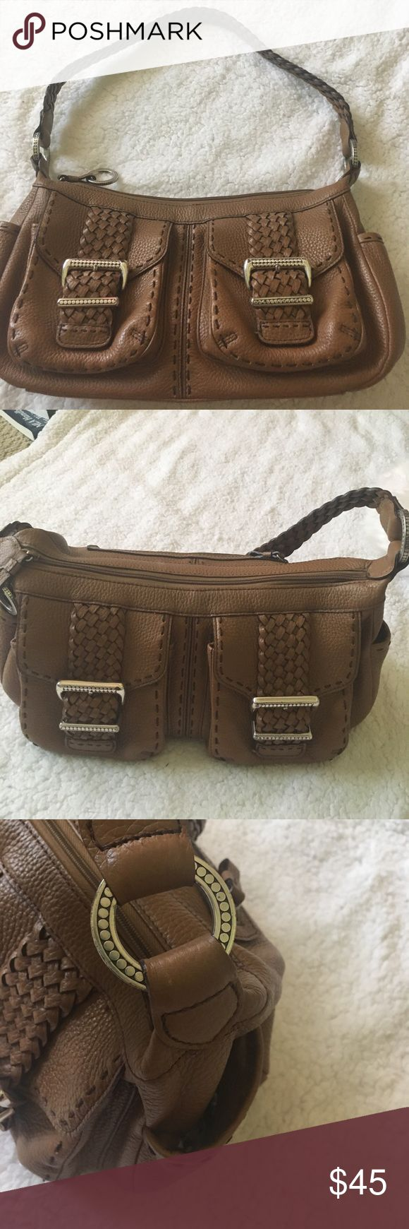EUC Brighton Brown Leather Purse ADORABLE This is for a EUC Brighton brown leather purse.  It is as cute as it can be with an adorable lining on the inside.  This purse has no problems whatsoever to speak of with the exception of some slight tarnishing on the silver plated hardware on the front pockets of the purse (please see pic).  This is a high quality Brighton bag purchased from a Brighton store. Brighton Bags Shoulder Bags