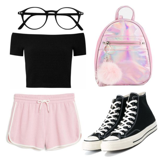 """Pink Hologram"" by liaperezmorales on Polyvore featuring Monki and Converse"