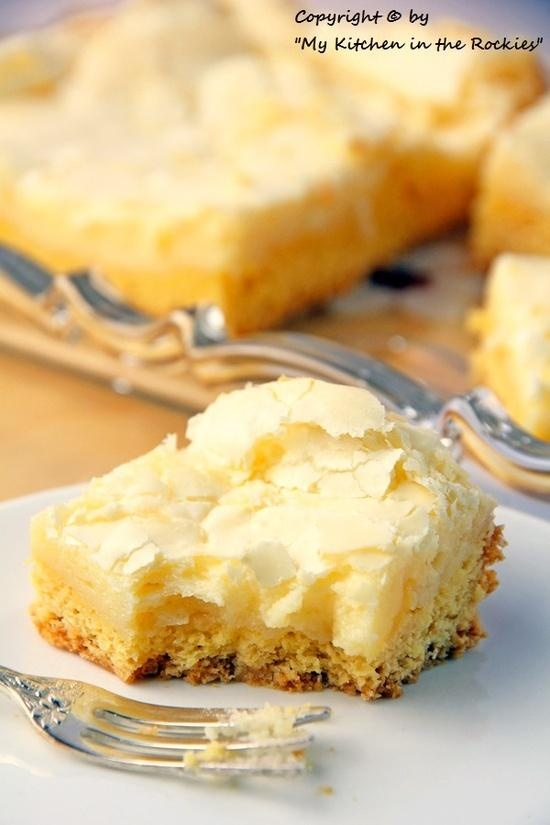 Neiman Marcus Cake. Has a vanilla cake bottom and a sweet, crunchy creamy cheese topping. can make this with boxed cake mix