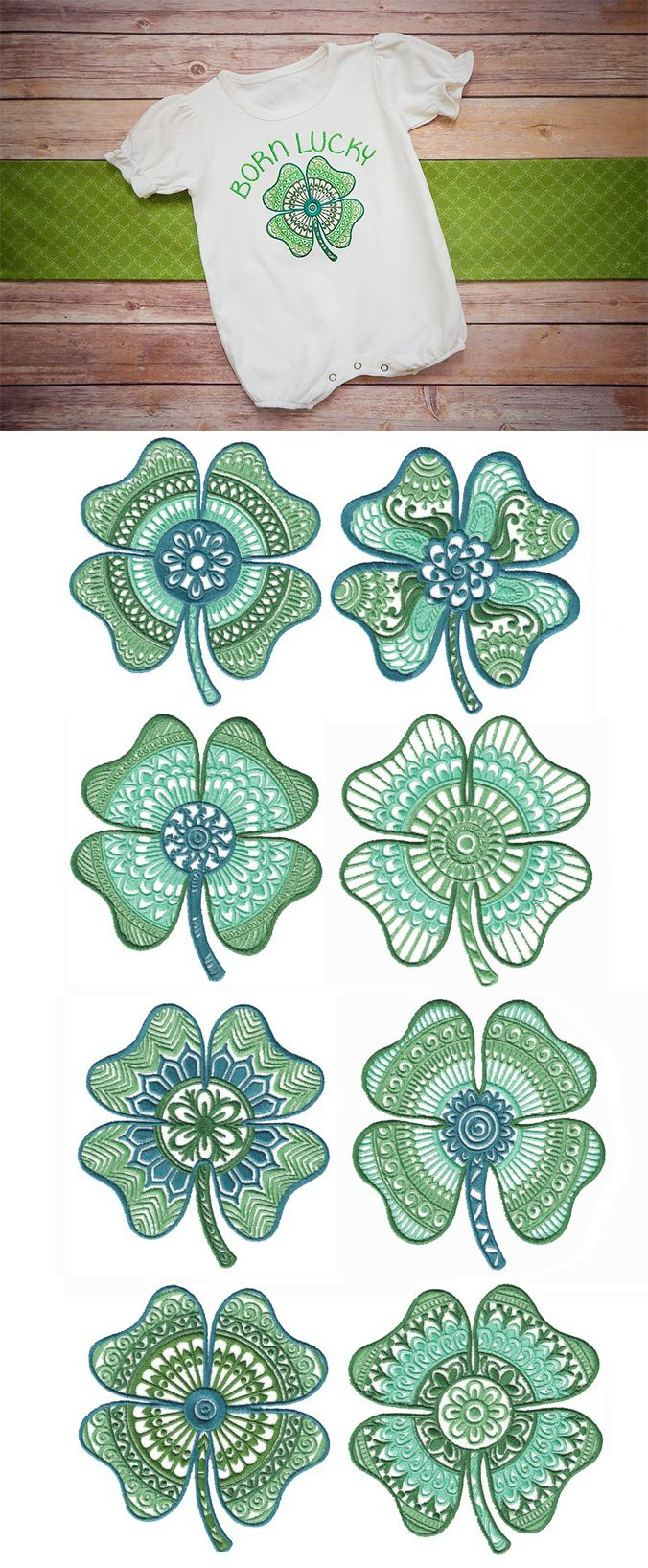 Ornamental Four Leaf Clovers now available for instant download at designsbyjuju.com