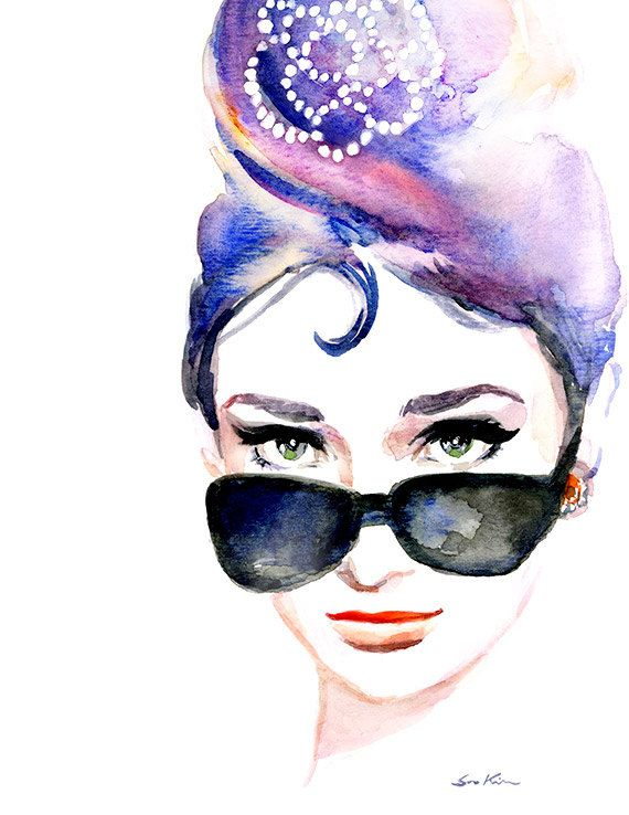 Audrey Hepburns iconic  sunglasses - Print of Original watercolor 8.5x11. $20.00, via Etsy.
