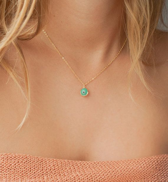 Evil eye necklace, Aquamarine evil eye protection charm, 14kt gold filled satellite dainty necklace, Vanessa Hudgens necklace on Etsy, $27.00