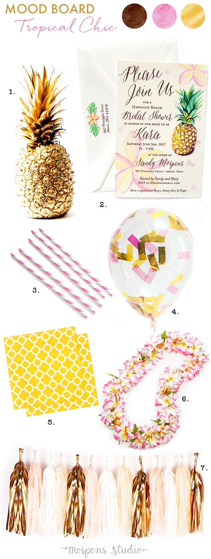 Fun and flirty! Tropical Hawaiian Chic Bridal Shower Ideas complete with pineapples and plumeria flowers. - www.mospensstudio.com