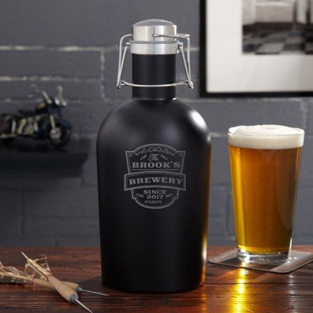 Personalized Vintage Brewery Blackout Beer Growler - tap to personalize and get yours