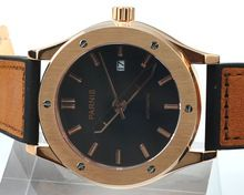 parnis PVD 44mm black dial golden case automatic mens watch 926(China (Mainland))