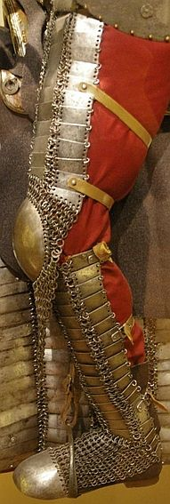 Ottoman kolçak (greaves) and dizcek (cuisse or knee and thigh armor), 16th century,  as worn by fully armored cavalryman (sipahi).
