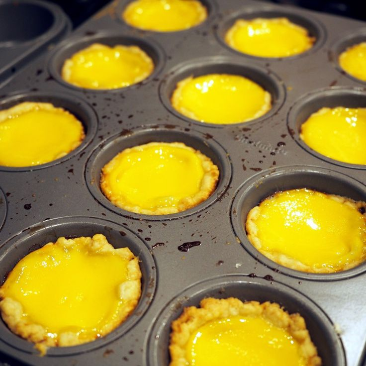 Bake for 30 min, or until the filling is set. Test with a toothpick. Let the egg tarts cool for 5 min and enjoy!
