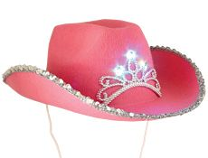LED Pink Tiara Cowboy - Website Description: Princess of the Cowgirls! This cowgirl will light up the night with our full size pink felt LED tiara cowboy hat. All you cowboys better watch out for these cowgirls!