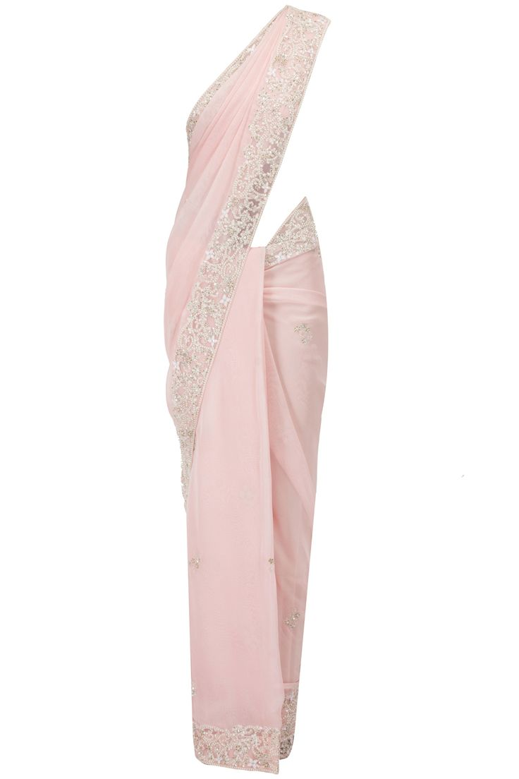 Soft pink gerogette sari with fully embroidered net blouse available only at Pernia's Pop-Up Shop.