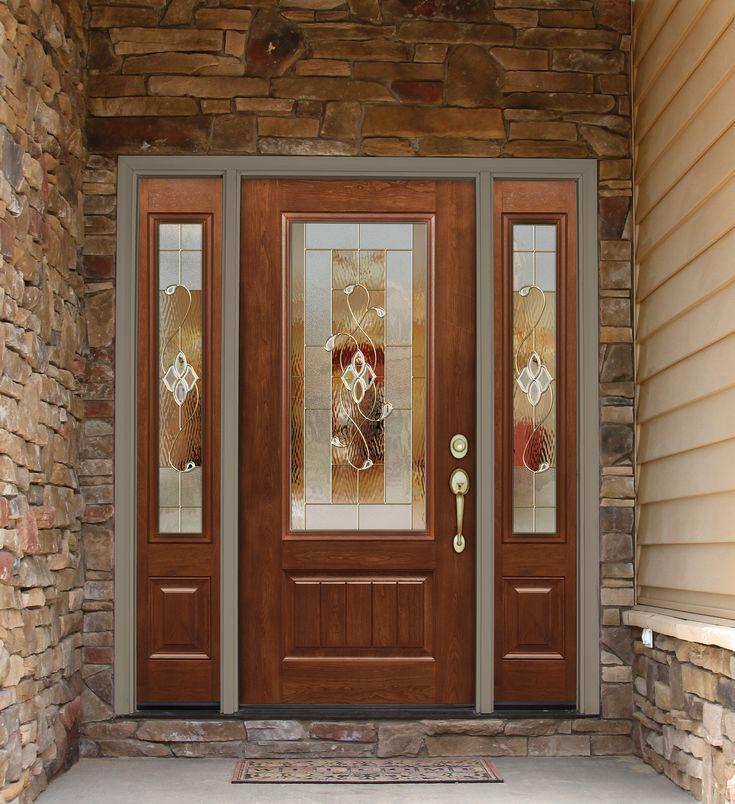 Provia signet essence cherry woodgrain rustic for Fiberglass entry doors with glass