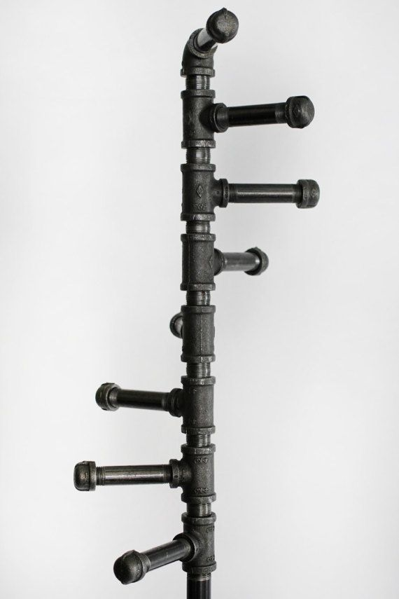 Standing Coat Rack, Industrial Style Black Pipe Spiral Coat Rack with 8 Hooks and Brass Gate Valve Handle. Stand Alone. Space Maximizing