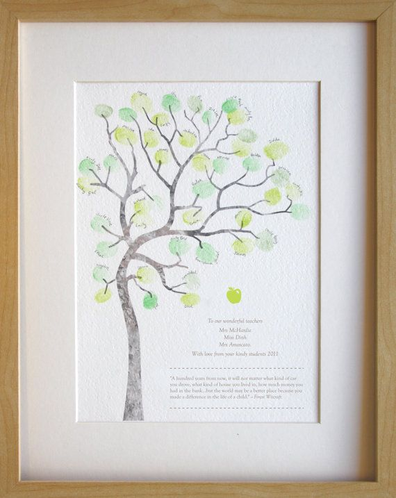 Fingerprint tree teachers gift classroom by MiniInkFingerPrints, $25.00