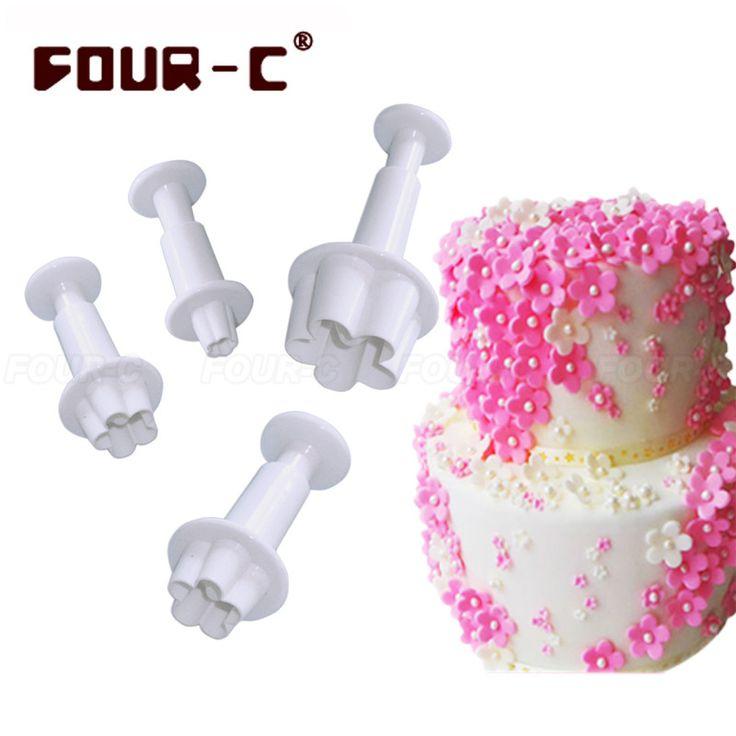 Blossom plastic sugarcraft fondant plunger cake cutters classic cake decorating tools fondant mold