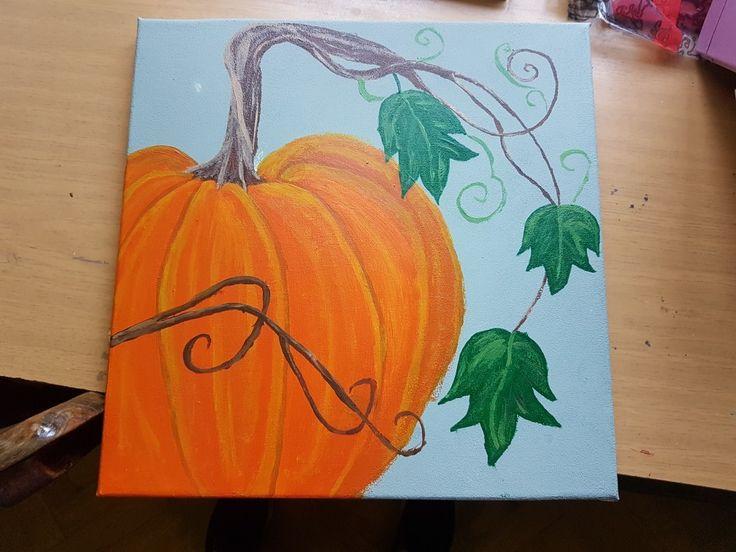 Autumn acrylic pianted pumpkin